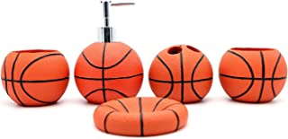 JynXos Resin 5 Pieces Bathroom Accessory Set -Basketball Design Ensemble Bathroom Vanities Home Decor