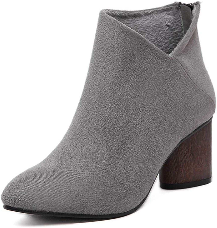 GIY Women's Pointed Toe Vegan Suede Ankle Boots Zipper Platform Chunky Stacked Block Heel Short Booties
