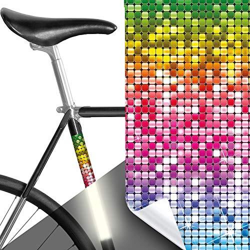 MOOXIBIKE Panel Rainbow Glamour Disco bunt reflektierend, Rahmenschutzaufkleber für Rennrad, MTB, Trekkingrad, Fixie, Mountainbike, Hollandrad, Citybike, Scooter, Rollator bis circa 15 cm Rahmenumfang