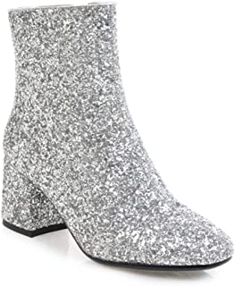 Women's Glitter Block Heel Ankle Bootie, Chunky Heel Glitter Pointed Toe Ankle Boots