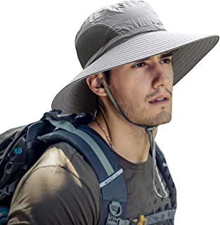 ZIQIAN Mens Sun Hat Summer Unisex Sun UV Protection Bucket Hat Outdoor Waterproof Wide Brim Hat with Breathable Mesh and C...