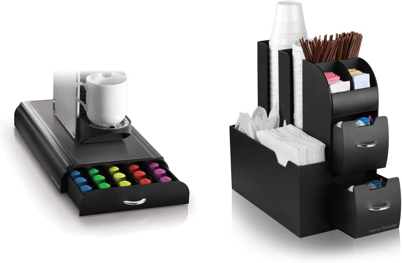 Ranking TOP2 Mind Reader CADNES-BLK High material Coffee Condiment with Cof Caddy Organizer
