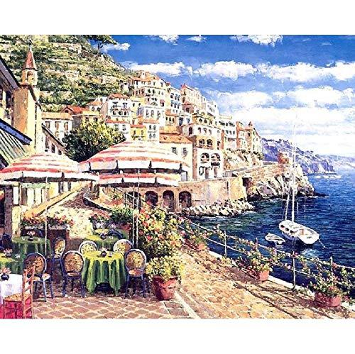 Kpoiuy Malen Sie ÖLgemäLde Nach Nummer Auf Leinwand-Kits Europe Seascape DIY Acrylfarben Malvorlagen Home Decoration Arts Crafts Erwachsene F 40 * 50CM Kein Bilderrahmen