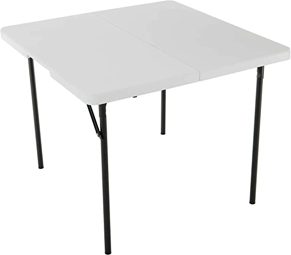 Lifetime 37 Inch Square Fold In Half Table White Granite 280228 2 Pack