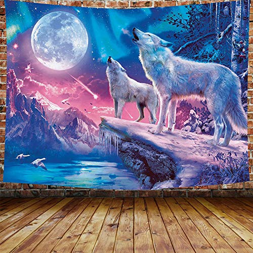 DBLLF Wolf and Moon Tapestry Mountain and Northern Light Tapestry Psychedelic Forest Landscape Background Theme Tapestry for Bedroom Living Room Dorm Decor 80X60 Inches DBLS855