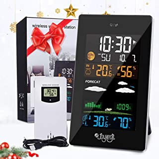 JOYXEON Weather Stations Wireless with Outdoor Sensor, 21 In 1 Weather Forecast Station, LCD Color Screen, Hygrometer Thermometer Temperature Display Alarm Clock with EN/DE/FR Instruction Manual