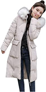 WOCACHI Down Coat for Womens, Tunic Cotton-Padded Zipper Pocket Detachable Hooded Jackets Winter Parka Outerwear