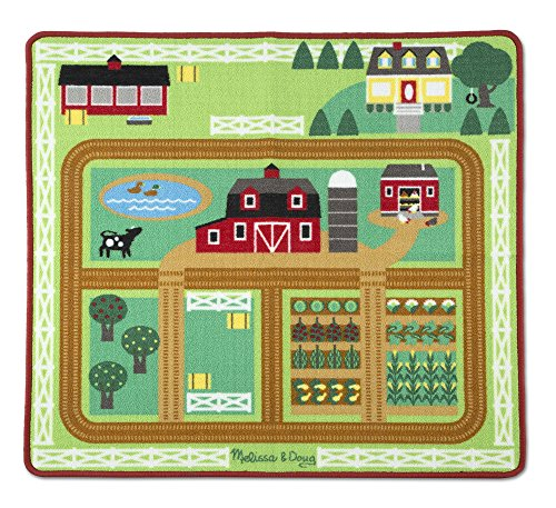 Melissa & Doug Round the Barnyard Farm Activity Play Rug (39 x 36 inches) - Wooden Tractor, Trailer, 3 Toy Animals
