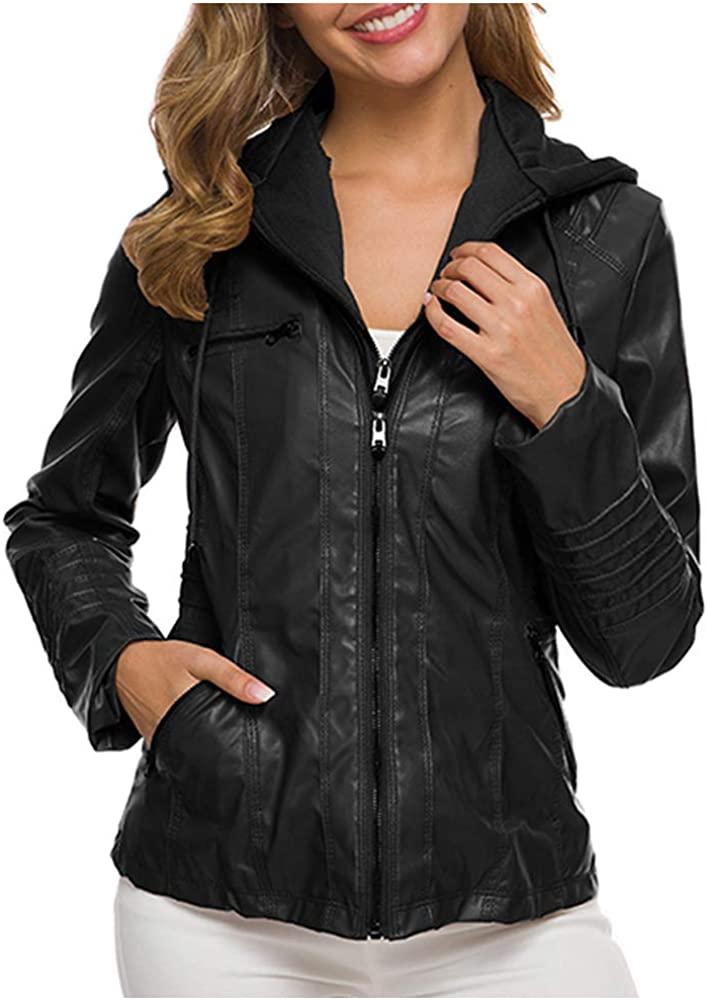 Women's Casual Zipper Removable Hooded Faux Leather Moto Biker Jacket with Pocket