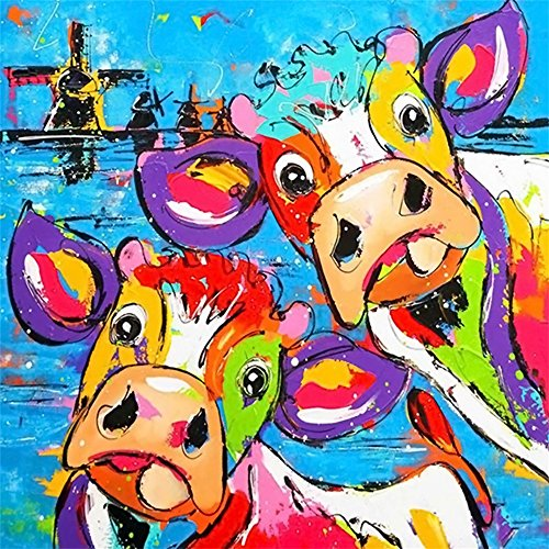 MOTOCO DIY 5D Stickerei Gemälde Strass eingefügt DIY Diamant Malerei Kreuzstich(Eine Kuh)