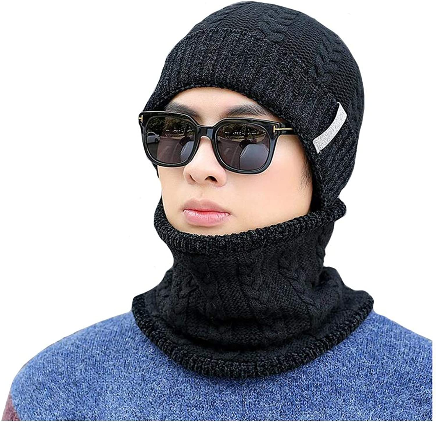 Dall hat Hat Scarf Set, Warm Knitted Cap Circle Scarf Unisex Men Outdoor Sports (color   Black)