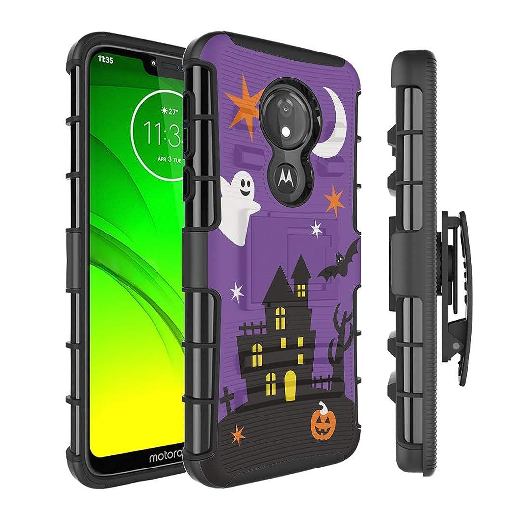 Moriko Case Compatible with Moto G7 Power, Moto G7 Supra [Kickstand Holster Combo Heavy Duty Protection Case Black] for Motorola Moto G7 Power - (Halloween) ymzlnro53