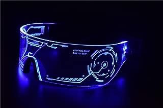 Cyberpunk LED Tron Visor Glasses - Perfect For Cosplay and Festivals - Cybergoth - Cyberpunk Glasses Goggles (Blue)