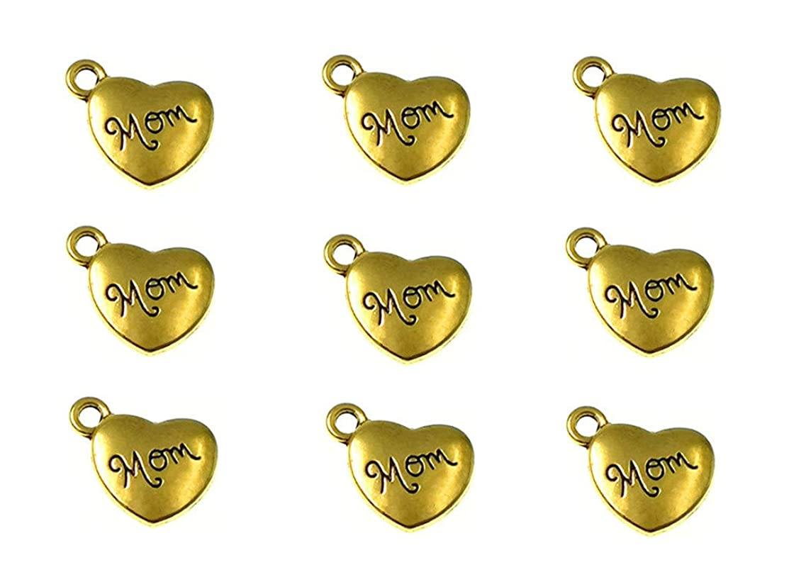 30pcs Mom Charm,Heart Shape Double-Faced Pendant for Mother's Day as DIY Bracelet Necklace Jewelry Making Findings(Golden)