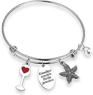 ZNTINA Retirement Gift Goodbye Tension Hello Pension Happy Retirement Bracelet 2019 2020 Gifts for Coworker Women Nurse Teacher