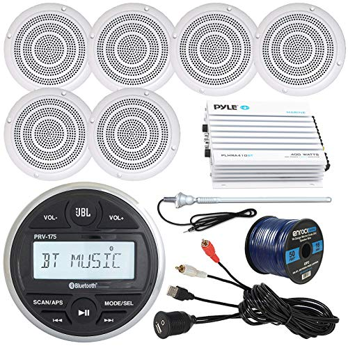 """Milenna PRV17 Marine Gauge Style AM/FM Radio Stereo Receiver Bundle Combo With 6x Magnadyne 5"""" Speaker, 400 Watt Bluetooth Amplifier, Enrock USB/AUX To RCA Cable, 45"""" Radio Antenna, 50 Ft Wire"""
