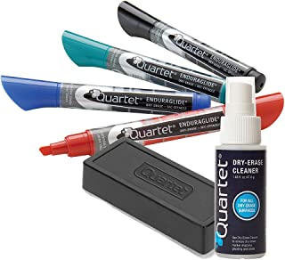 Quartet Dry Erase Markers Accessory Kit, 4 Chisel Point EnduraGlide Dry Erase Markers, an Eraser & Cleaning Spray (5001M-4SK)