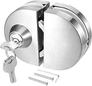 Ranbo 304 Stainless Steel Commercial Durable Metal Chrome 10 mm -12 mm Glass Door Anti-Theft Security Lock, Double Swing Hinged Frameless Push Sliding Gate Lock with 3 Keys