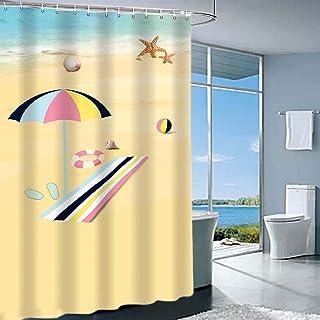 JYXR HOME&LIVING Shower Curtain, Beach Shower Curtain Set, Extra Long Shower Curtain Set with 12 Hooks 72x72Inch