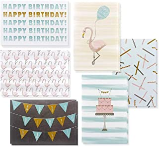 48 Pack Happy Birthday Greeting Cards- 6 Designs, Pastel Colors, Flamingos - 48 Envelopes Included 4 x 6 inches