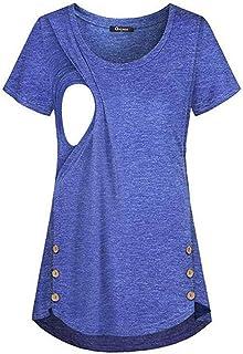 2fdc0a081 Proumy Camiseta Premamá Lactancia Vestidos Azul Verano Mujer Ropa de  Maternidad con Manga Falda para Mujer