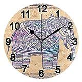FULUHUAPIN Reloj de pared Boho Elefante para baño y cocina para niña niño sin tictac, silencioso, fácil de leer para decoración de dormitorio 22.5 cm, reloj redondo 20301184