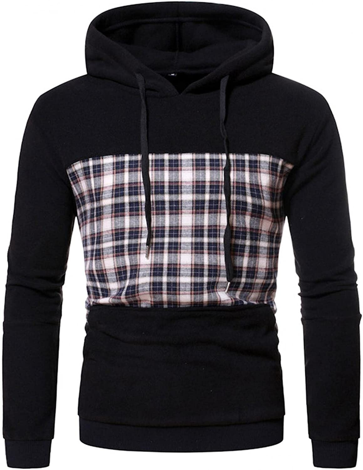 Aayomet Hoodies Sweatshirts for Men Patchwork Color Block Checked Casual Long Sleeve Hooded Pullover Tops Blouses Sweaters