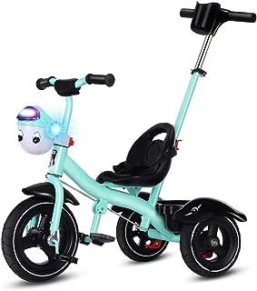 GYF 子供の三輪車 2〜6歳の子供用自転車 折りたたみ三輪車 子供用 幼児用 キッズ オールインワンup 子供用 バランス三輪車 黒 白 緑 ピンク  76X52X105CM (Color : Green)