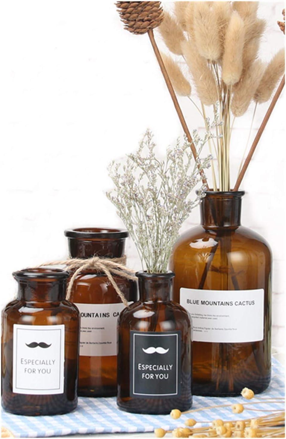☆国内最安値に挑戦☆ 4 Pack Brown Glass Vases for Mini Flower 豊富な品 Small Hydro Vase