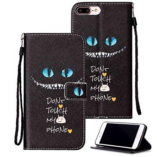 iPhone 8 Plus / 7 Plus / 6s Plus / 6 Plus Case, Etubby [Wallet Stand] PU Leather Flip Protective Case with Card Slots & Wrist Strap for Apple iPhone 6 Plus, 6s Plus, 7 Plus, 8 Plus 5.5' - Cheshire-Cat