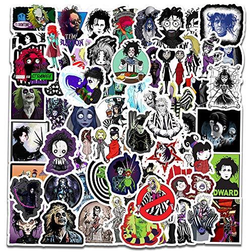 Tim Burton Movies Halloween Stickers[60pcs] Sweeney Todd, Corpse Bride, Sleepy Hollow, Edward Scissorhands Stickers for Laptop Bike Car Guitar Motorcycle Luggage Skateboard Best Gift for Kids Teen