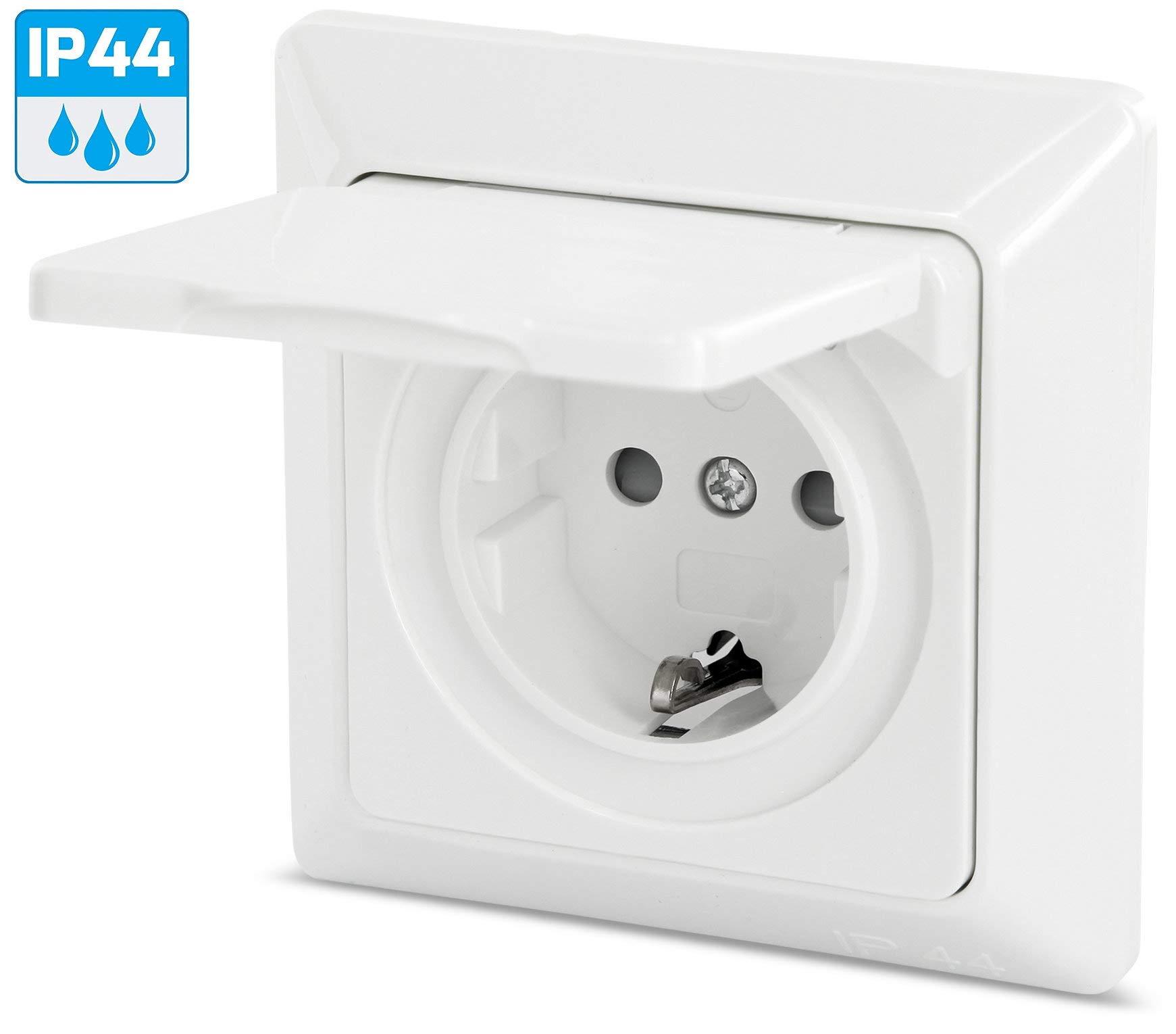 Enchufe para ambientes húmedos con tapa plegable de muelle IP44 ...