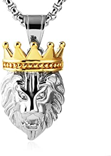 HZMAN Men's Silver Gold Tone Stainless Steel Lion King Pendant Necklace Cable Wheat 24