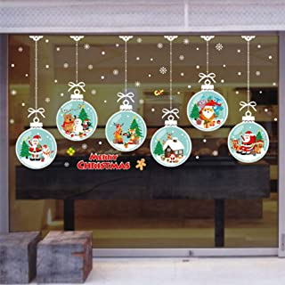 LONGTEN Merry Christmas Sticker Santa Claus Window Clings Decoration Christmas Tree Shop Mall Window Glass Wall Sticker Reindeer Christmas Snowman Snowflake Window Static Sticker Self-Adhesive (L)