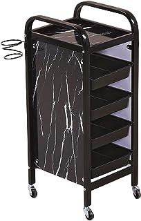 5層 美容院サロントロリー、ブラック 大理石のパターン ヘアツールカート と 4サービストレイ& ヘアドライヤーラック、36×32×85cm (Color : Black)