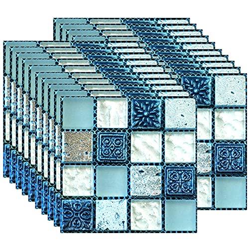 ANCLLO 40 PZ PVC Mosaico Mur Carrelage Transferts Autocollants Autocollants Cucina Salle De Bains Carrelage Mur Autocollant Vinyle Art Stickers Décoration de La Maison 10 x 10 cm (Bleu)