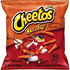 Pack of 40 one ounce bags Cheetos crunchy cheese snacks you're sure to love Gluten free These much loved treats are fun to enjoy at lunch, as an after-school snack, or party refreshment Easy to carry, easy to store, and easy to pack Our snacks have a...