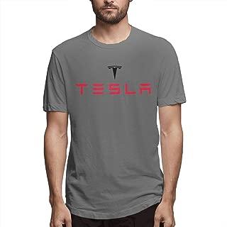 Syins Mens Design Breathable Tesla Motors Logo Short Sleeve Humor T Shirts Deep Heather
