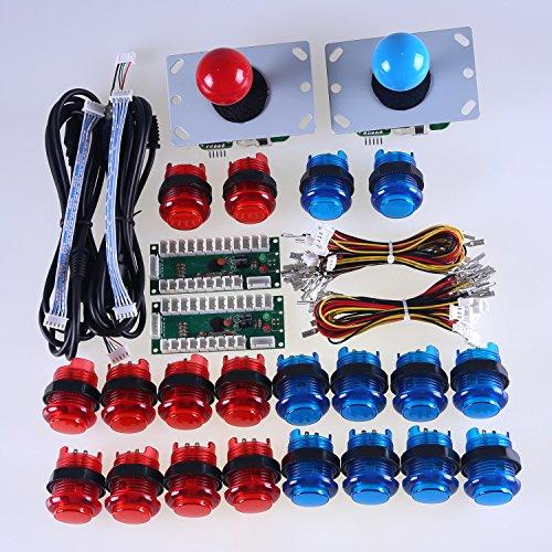 Reyann Cero Kit de retardo LED del juego de arcada de bricolaje piezas + 2 X 5 pines 8 Camino Joysticks + 20 X LED botón luminoso MAME Windows y Arcade Juegos de Lucha Rojo + Azul botones