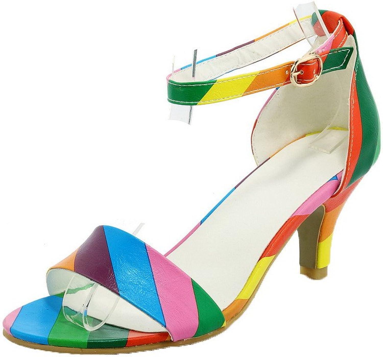 WeenFashion Women's High-Heels PU Solid Buckle Open-Toe Sandals