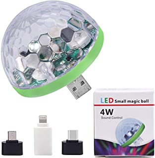 USB Disco Lights Mini Led Ball Sound Control DJ Stage Light Colorful Strobe RGB Lamp for Christmas/Brithday/Wedding/Club/Karaoke Decorations, Suitable for Mobile Phones,Christmas Gifts