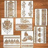 CHENYI Plantillas de mandala con diseño de flores, 8 unidades, plantillas de mandala para pintar sobre madera, lienzo, papel de pared, mandala, borde, reutilizables, para manualidades creativas