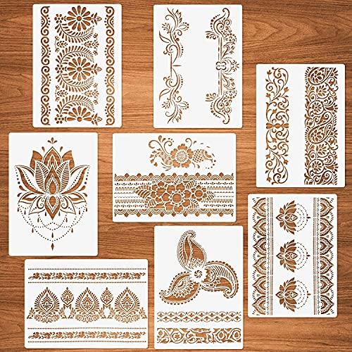 YUEMA 8 plantillas para bordes de flores, plantillas de mandala, para pintar sobre lienzo de madera, papel de pared, muebles, plantillas artesanales, reutilizables