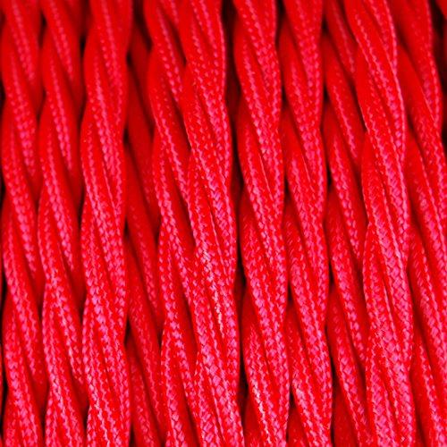 GUFAN Fils Electriques Torsadé Tissu Rétro /9 Couleurs Au Choix (Rouge, 15M)