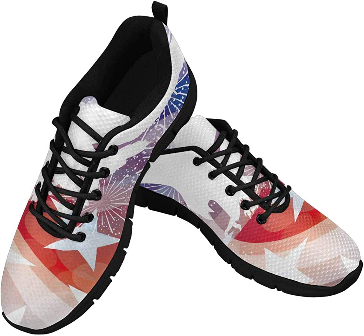 INTERESTPRINT Stars and Stripes with Eagle Women's Lightweight Athletic Casual Gym Sneakers