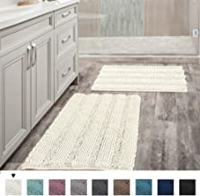 """(Set of 2) Super Thick Soft Striped Shaggy Chenille Bath Mats Machine Washable Bath Rugs Set for Bathroom, Dry Fast Water Absorbent Bath Mats, Ivory (Pack 2-20"""" x 32""""/17"""" x 24"""")"""