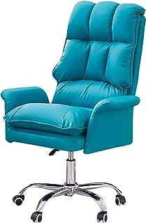 My-Swivel chair Silla de Escritorio de Oficina Silla para computadora Silla de Escritorio de Oficina giratoria con Respaldo Alto, ergonómica, Acolchada en Cuero, con reposabrazos, Blanco, Rosa, Azul