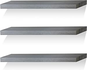 Floating Shelves Wall Shelf Solid Wood for Bathroom Bedroom Kitchen Wall Decor Set of 3, Weathered Gray Wall Shelves