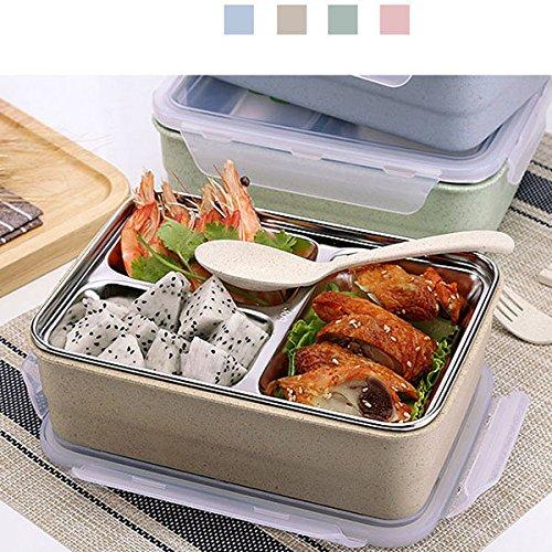 Bureze 1.2L en acier inoxydable déjeuner Ship Lot micro-ondes Bento Box pour enfants Multi-grid Chauffage Isolation