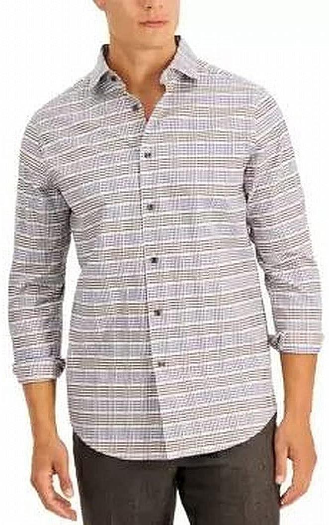 Tasso Elba Mens Dress Shirt Illenum Plaid Print Stretch White 2XL